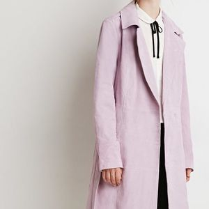 Lilac Leather Suede trench coat - Size S